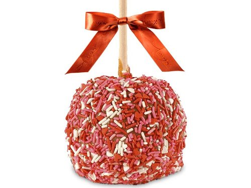 Two Valentine Sprinkle Caramel Apples