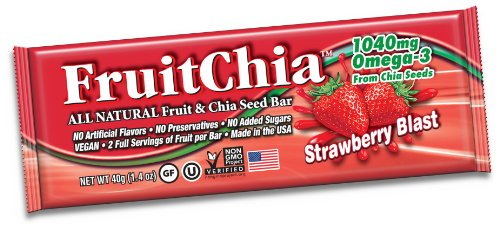 Fruitchia Chia Bar - All Natural / Real Fruit & Chia Seed Bar With Omega-3 Healthy, Tasty & Certified Gluten-Free, Vegan, Non-Gmo & Kosher All Fruit Grown And Bar Made In The Usa, In Our Wa Facilty! (Strawberry, 2-Pack Bars)