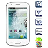 MySAGA C3 4.0 Inch Smartphone Android 4.2 MTK6572M Dual Core Cell phone Dual SIM Dual Standby Mobile Phone GPS WiFi Bluetooth Unlocked 2G network Cellphone (White)