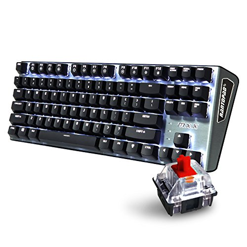 Rantopad-MXX-Mechanical-Gaming-Keyboard-87-KeysWhite-Backlit-Red-Switches-Grey-Aluminum-Cover-N-Key-Rollover