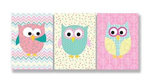 The Kids Room by Stupell Pastel Whimsical Owls 3-Pc Wall Plaque Set