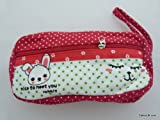 Estuche de cremallera Kawaii Zakka estilo Diseño Animal - rojo (conejo blanco)