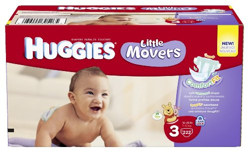 Huggies Little Movers Diapers, Ebulk, Size 3, 222 Count (Packaging May Vary)