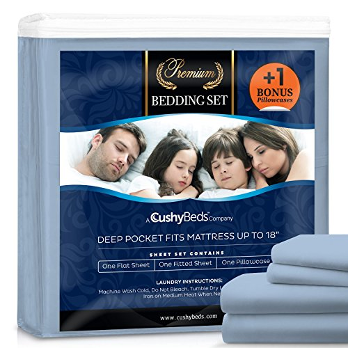 Premium Bed Sheet Set by CushyBeds - Brushed Microfiber 1800 Bedding - Hypoallergenic, Wrinkle, Fade, Stain Resistant - 4 Pieces Includes 1 BONUS Pillow Case (Twin XL, Light Blue) (Twin Light Blue Bedding compare prices)