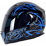 PGR F99 Hunter Modular Flip Up Dual Visor Full Face with Sun Shield DOT APPROVED Motorcycle Touring MAX Helmet (M, Black Blue)