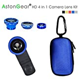 AstonGear® HD 4 in 1 Camera Lens Kit -Fish Eye Lens / One 2 in 1 Macro Lens / Wide Angle Lens Compatible with Smart Phones iphone 5 5C 5S 4S 4 3GS ipad mini ipad 4 3 2 Samsung Galaxy S4 S3 S2 Note 3 2 1 Sony Xperia L36h L36i HTC ONE Galaxy Tab Macbook Air Macbook Pro HP elite book Universal Clip include One Portable Carrying Case (180 days warranty) (HD BLUE)