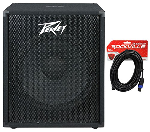 "Package: Peavey Pv 118 18"" Professional Passive Subwoofer With Vented Bass Sub Enclosure + Rockvile Rcss1425 25' 14 Awg 2-Conductor Speakon To Speakon Pro Speaker Cable"