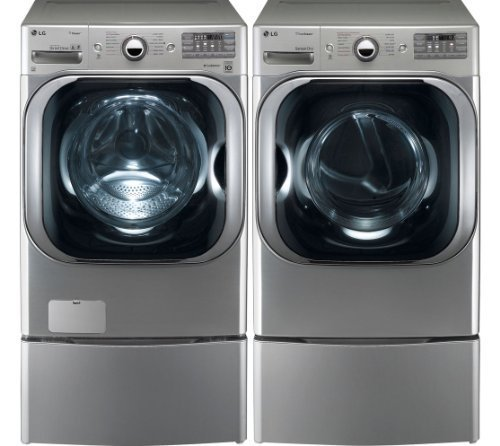 LG Graphite 5.1 Cu Ft Front Load Steam Washer and 9.0 Cu Ft Steam Electric Dryer set with Pedestals WM8000HVA DLEX8000V WDP5V Model: WM8000HVA_DLEX8000V_WDP5V primary