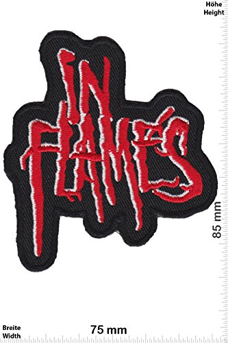 Patch - In Flames - red - Melodic-Death-Metal-Band - Musicpatch - Rock - Vest - Iron on Patch - toppa - applicazione - Ricamato termo-adesivo - Give Away