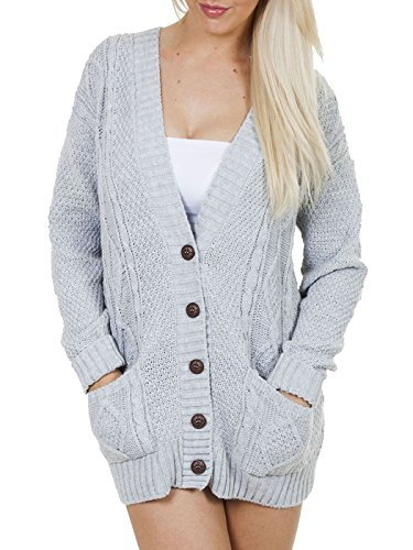 Love My Fashions Long Sleeve Full Length Cable Knit Knitted Boyfriend Cardigan - Light Grey - Size 8 10 12 14 S M L XL