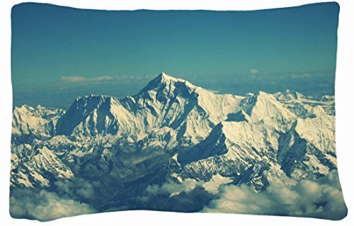 Queen Size Microfiber Peach Decorative Pillowcases -Nature Mountains Mountains Clouds Landscapes Snow Nepal Teal Skyscapes Mount Everest Geography front-1025317