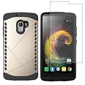 Shopizone Shockproof Armor Back Case Cover with Tempered Glass Protector for Lenovo K4 Note - Gold