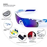 RIVBOS® 801 Polarized Sports Sunglasses with 5 Interchangeable Lenses for Men Women Cycling Running Glasses