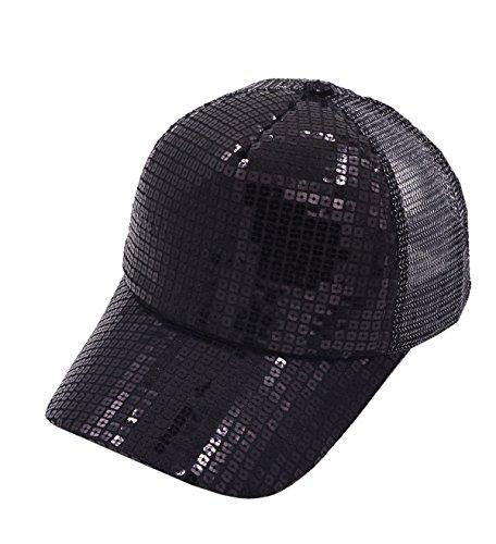 [Vegali Fashion Unisex Sequins Adjustable Hip Hop hat Baseball Cap Snapback Hat (Black)] (Leopard Cowboy Hat)