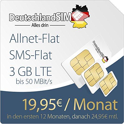 DeutschlandSIM PremiumSIM LTE L [SIM, Micro-SIM und Nano-SIM] 24 Monate Vertragslaufzeit (3 GB LTE Daten-Flat mit max. 50 MBit/s, Telefonie-Flat, SMS-Flat, 19,95 Euro/Monat in den ersten 12 Monaten, danach 24,95 / Monat) O2-Netz