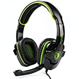 SADES SA708 Stereo Gaming Headset Heahphone for PC with Volume-Control Microphone(Green)