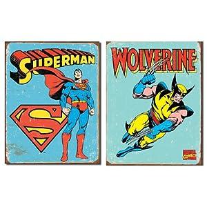 Nostalgic Superhero Tin Metal Sign Bundle - 2 comic book hero signs: Superman Retro & Wolverine Retro 0090