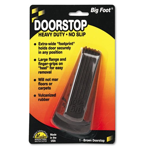Master Caster® - Big Foot Doorstop, No-Slip Rubber Wedge, 2-1/4w x 4-3/4d x 1-1/4h, Brown - Sold As 1 Each - Wedge style, nonslip rubber with extra-wide flange.