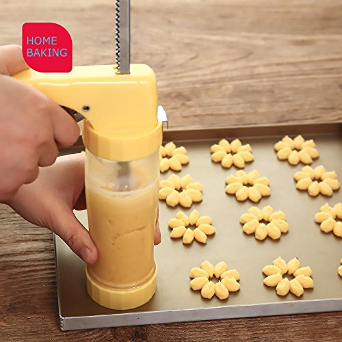 Huluwa Cookie Press Multifunctional Cookie Press Gun Set with 16 Discs and 6 Icing Tips