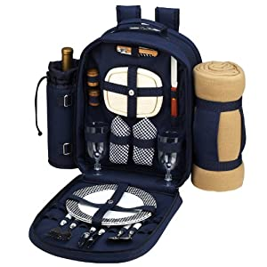 Picnic at Ascot Classic Backpack for 2 with Blanket, Navy
