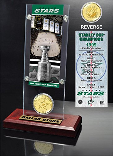 """NHL Dallas Stars Stanley Cup Champions Ticket & Coin Acrylic Display, 12"""" x 6"""" x 7"""", Bronze"""