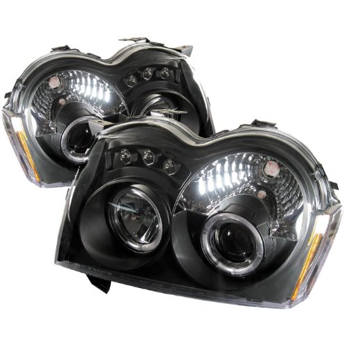 2005 2006 2007 Jeep Grand Cherokee Halo Led Projector Headlights - Black (Replaceable Leds)