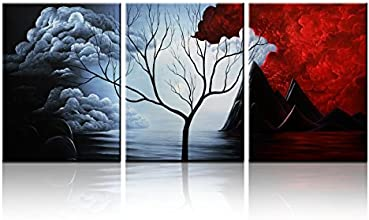 Santin Art- the Cloud Tree-Modern Abstract Painting High Q. Wall Decor Landscape Paintings on Canvas 12x16inch 3pcs/set Stretched and Framed Ready to Hang