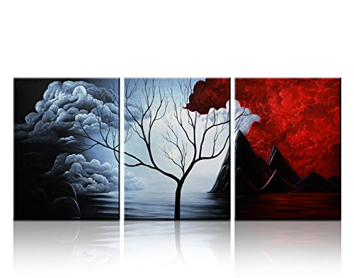Santin Art- Modern Abstract Painting the Cloud Tree High Q. Wall Decor Landscape Paintings on Canvas 12x16inch 3pcs Stretched and Framed Ready to Hang Furniture
