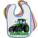 Green Tractor Personalised Baby Bib Blue Pink Yellow or White