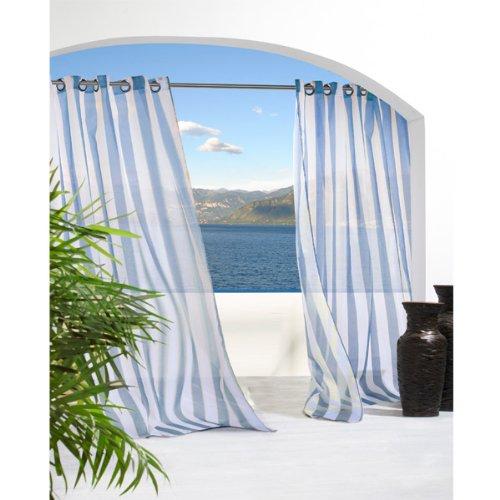 Cheap Outdoor Decor Escape Stripe Grommet Top Curtain
