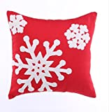 Howarmer 18x18 Christmas Decoration Red Throw Pillow Cover Embroidered Throw Pillows for Teen Christmas Snow by Howarmer