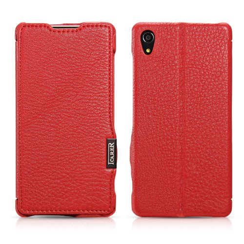 Moon Monkey Luxury Lichee Pattern Premium Genuine Leather Built-In Wallet Design Protective Folio Case For Sony Xperia Z2 With Stand Function (Mm375) (Red)