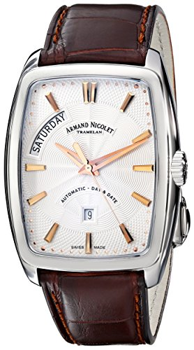 Armand Nicolet TM7 9630A-AS-P968MR3 38mm Automatic Stainless Steel Case Brown Leather Anti-Reflective Sapphire Men's Watch