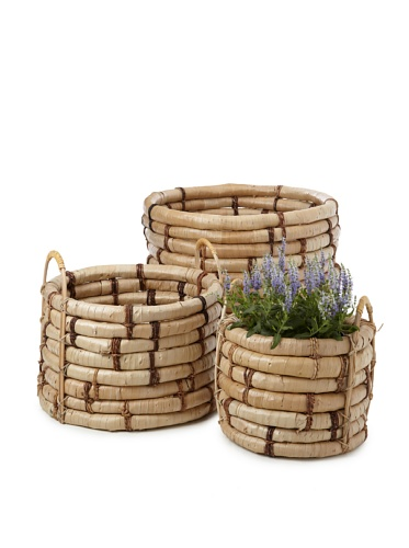Wald Imports Set of 3 Oversized Buri Do Knots Planters, Natural image