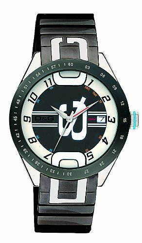 D & G DW0319 'Shuffled' Gents Grey IP Bracelet Watch