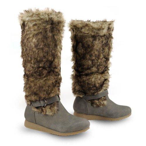 Winterstiefel warm gefüttert mit kunstfellbezogenen Schaft - Diese Stiefel würden Sie selbst auf Ihrer Abenteuerreise in die Arktis mit Schlittenhunden nicht im Stich lassen. Schuhspann in Leder-Optik, innen flauschig, Schaft komplett in Kunstfell-Look grau 37