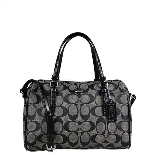 Coach   Coach Peyton Signature Bennett Mini Satchel in Black & White - Style 49862