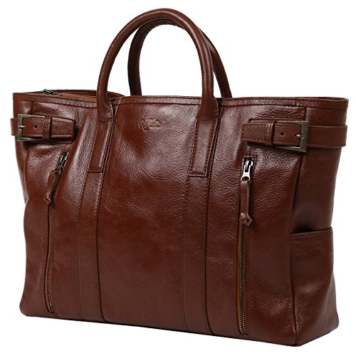 (ラファエロ) Raffaello 一流の革職人が作る 極上のカーフレザーで製作した革鞄 本革 ビジネスバッグ レザーバッグ かばん メンズバッグ メンズかばん 鞄 (ブラウン)