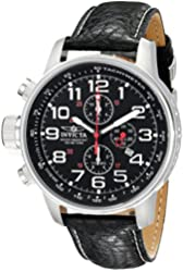 "Invicta Men's 2770 ""Force Collection"" Stainless Steel Left-Handed Watch With Black-Leather Strap"