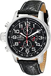 """Invicta Men's 2770 """"Force Collection"""" Stainless Steel Left-Handed Watch With Black-Leather Strap"""