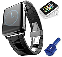 Apple Watch Band, Black Space Gray Stainless Steel 42mm BEST Metal Strap Replacement GUARANTEED Easy Swap, Quality Build, Includes Link Removal Tool & Adjustment Screwdriver & CLEAR WATCH CASE, Enhance your Style Now!
