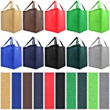 Reusable Reinforced Handle Grocery Tote Bag Large 10 Pack - 10 Color Variety