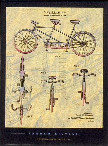 Tandem Bicycle, Art Print by Patent Poster