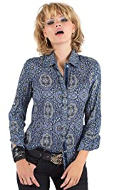 Blue Ornamental print shirt