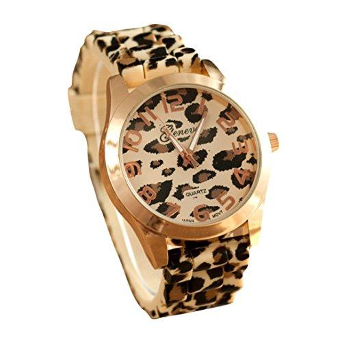 START-WomenMan-Silicone-Leopard-Digital-Dial-Wrist-Watch-Gold