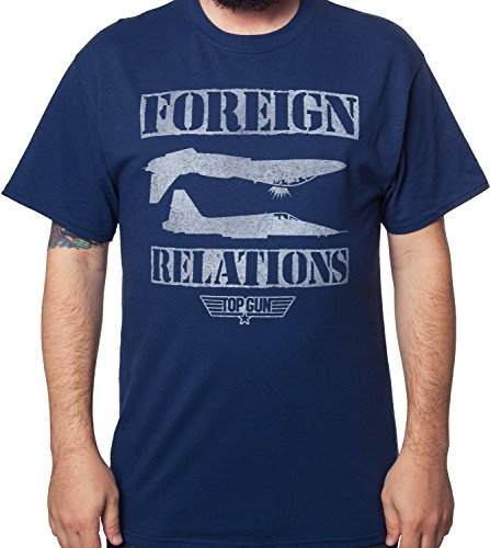 Men's Foreign Relations Top Gun T-Shirt Navy by 80sTees