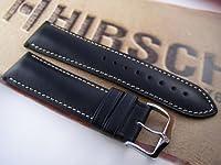Hirsch Heavy Calf  Black Leather Watch Strap 22mm