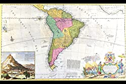 Canvas Print, Antique Map of South America - 20x30