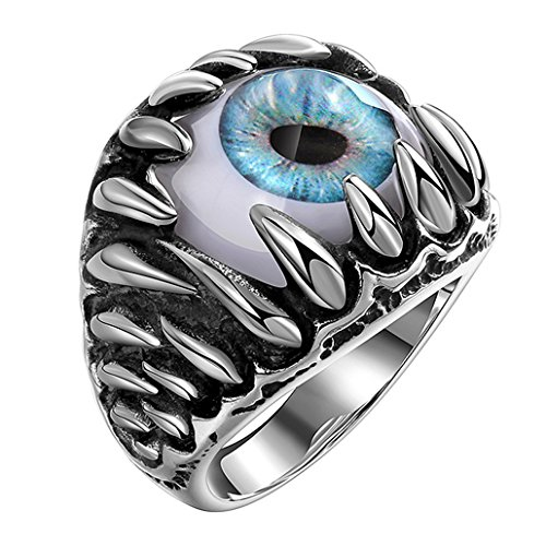 Aivtalk 個性的 目玉 シルバー リング 眼球 目ん玉 青 眼球リング シルバー 指輪 ギフトボックス付き(20号)