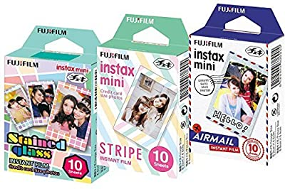 Fuji Instax Mini Films Airmail - Stripe - Stained Glass x Fujifilm Mini 8/50s Mini 90 Mini 25